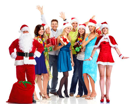st claus: Christmas party. Happy people. Stock Photo
