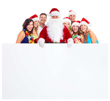 party hat: Christmas party. Happy people. Stock Photo