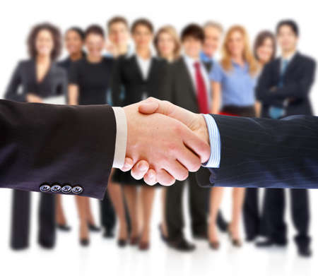 personas: Apret�n de manos. La gente de negocios reuni�n. Foto de archivo