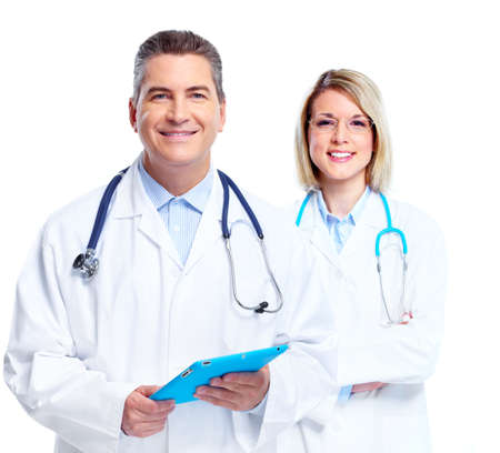 tablet: Medical doctors group. Stock Photo