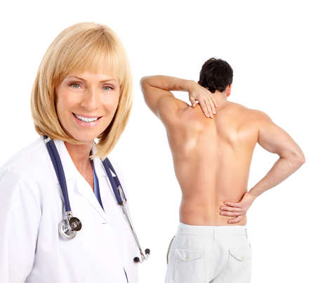 aching muscles: Young man with a back pain. Stock Photo