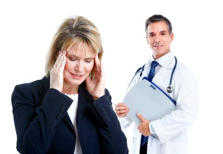 의사의 정신과 의사와 환자.