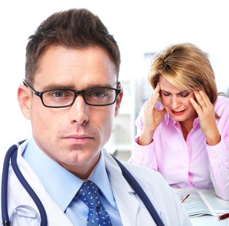 man 40 50: Doctor psychiatrist and patient.