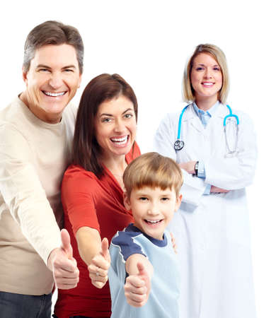 Family doctor: Medical doctor and happy family patient. Stock Photo