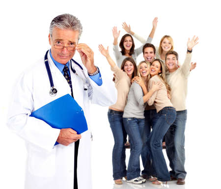 Medical doctor and happy people patients. photo