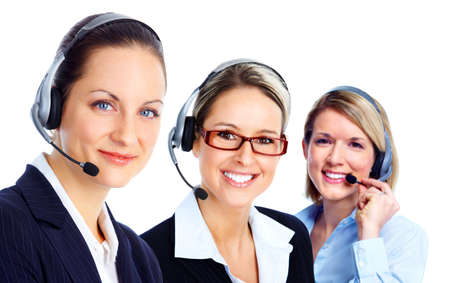 Call customer center operator. photo