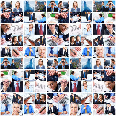 greeting people: Collage of business people. Stock Photo