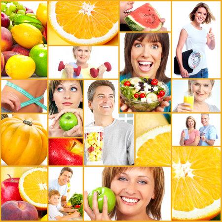 vitamina a: Las personas estilo de vida saludable collage. Foto de archivo