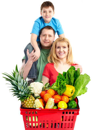 supermarket: Happy family with a grocery shopping basket.