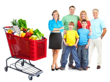 consumer: Happy family with a grocery shopping cart.