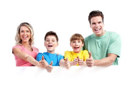 family photo: Happy family with banner. Stock Photo