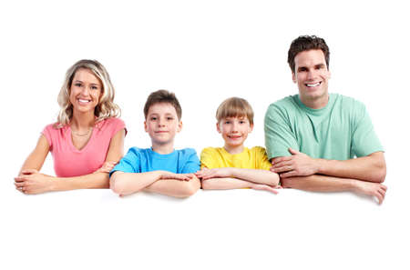 Happy family with banner. Stock Photo - 11920347
