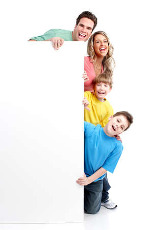 family health: Happy family with banner