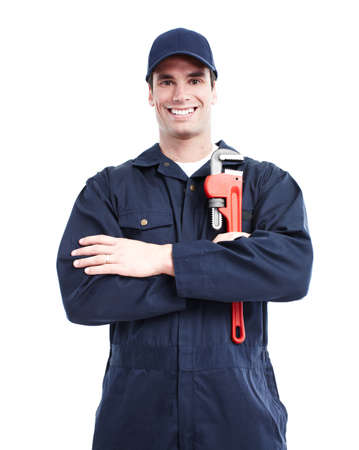 sink drain: Plumber with an adjustable wrench. Stock Photo