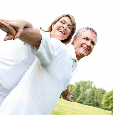 healthy couple: Happy elderly couple. Stock Photo