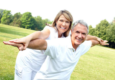 pensioner: Happy elderly couple. Stock Photo