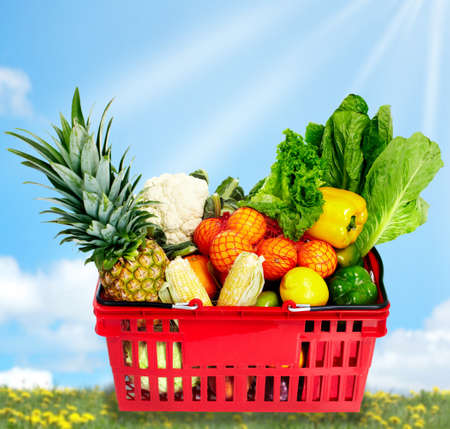 Grocery shopping basket with food. photo