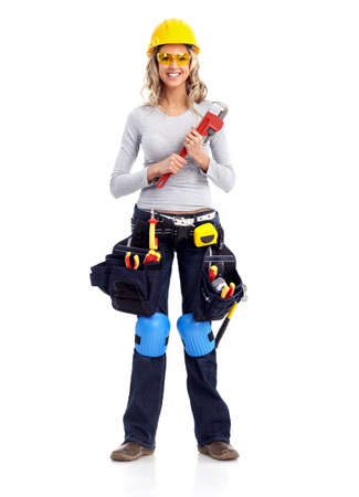 manufactory: Woman contractor. Stock Photo