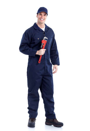 adjustable wrench: Plumber with an adjustable wrench. Stock Photo