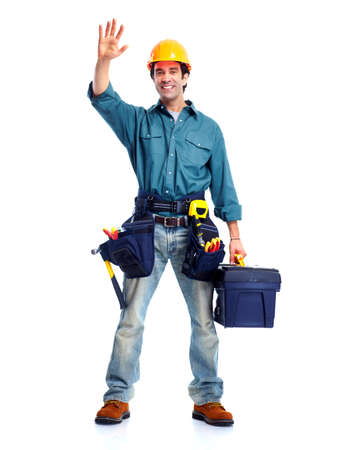 manufactory: Plumber worker. Stock Photo