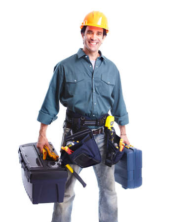 perforate: Plumber worker. Stock Photo