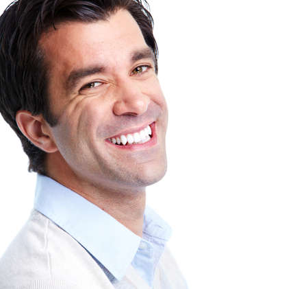 smiling teeth: Handsome smiling man. Stock Photo