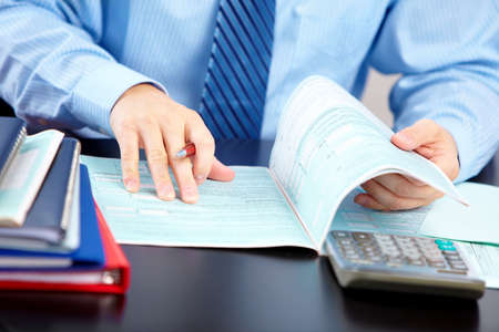 the bookkeeper: Accountant businessman. Stock Photo