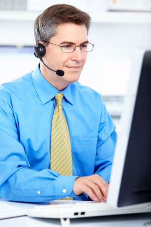 telephone headsets: Llame al operador del centro. Foto de archivo