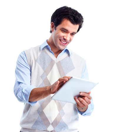notebook: Man with tablet computer. Stock Photo