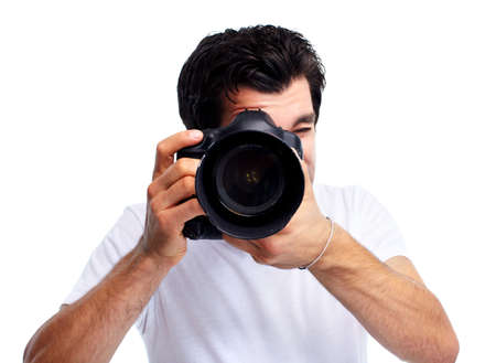 photo shooting: Young man with camera.
