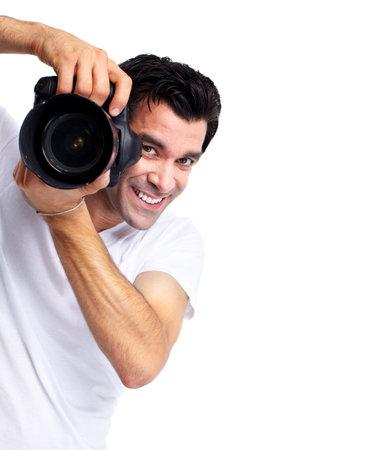 male arm: Hombre joven con c�mara. Foto de archivo