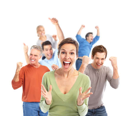 animados: Grupo de gente feliz.