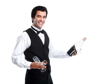 white wine: Waiter man.
