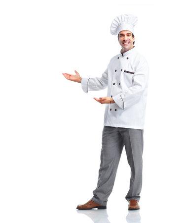 werk: Professionele chef-kok man. Stockfoto