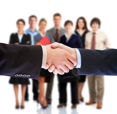 Handshake. Mensen uit het bedrijfsleven zitting.