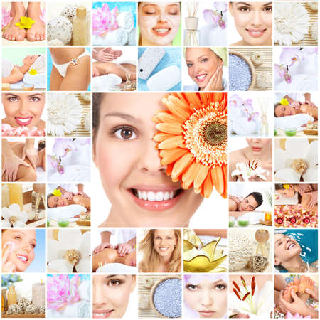 salon background: Spa massage collage background.
