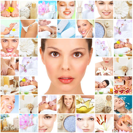spa collage: Spa massage collage background.