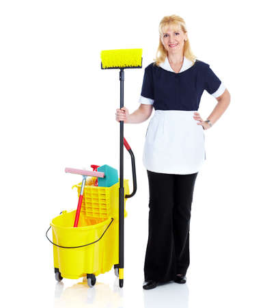house worker: Young smiling cleaner woman. Stock Photo