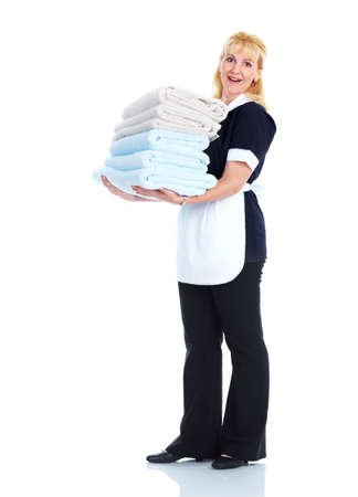 girl with towel: Smiling maid woman. Stock Photo