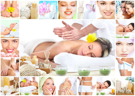 collage of faces: Spa massage sfondo collage. Archivio Fotografico