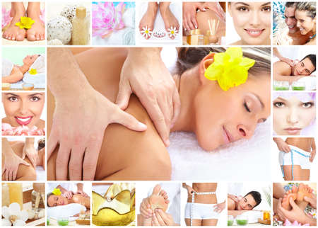 massage face: Spa massage collage background.
