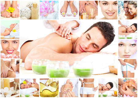 body spa: Spa massage collage background.