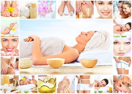 Spa massage collage background. photo