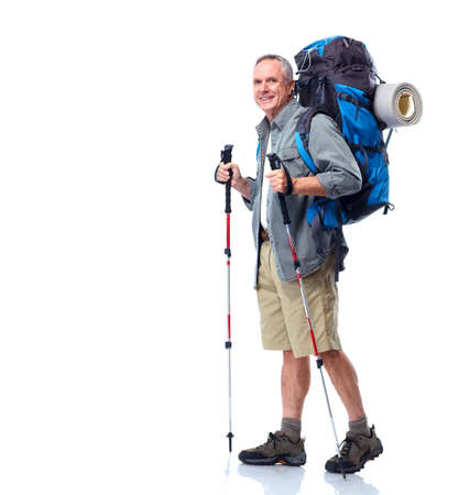 trekking pole: Tourist. Senior man.