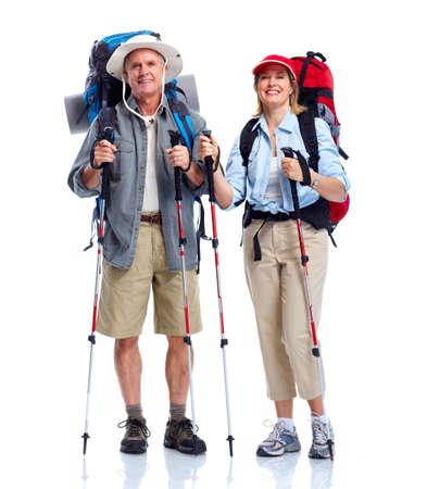 trekking pole: Tourist. Senior couple.