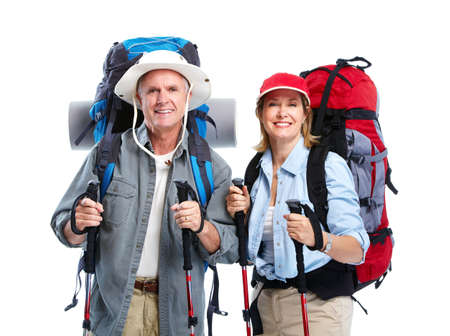 Tourist. Senior couple hiking. 스톡 콘텐츠