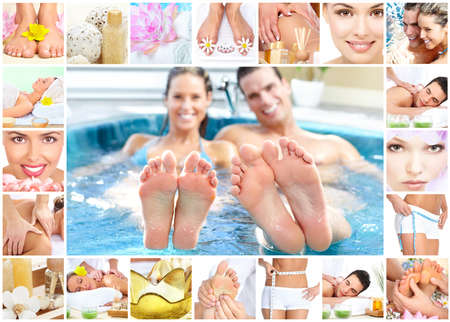 Spa massage collage background. Stock Photo - 11992321