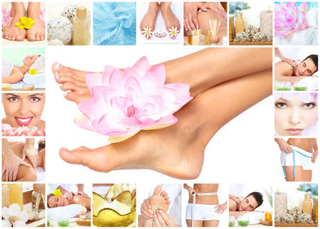 Spa massage. Legs with flower. photo