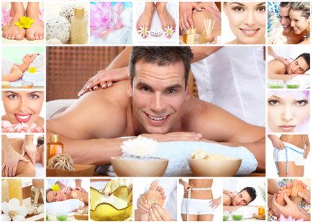 foto: Spa massage collage achtergrond.
