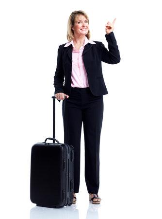 mujer con maleta: Sonriente mujer de negocios con la maleta.
